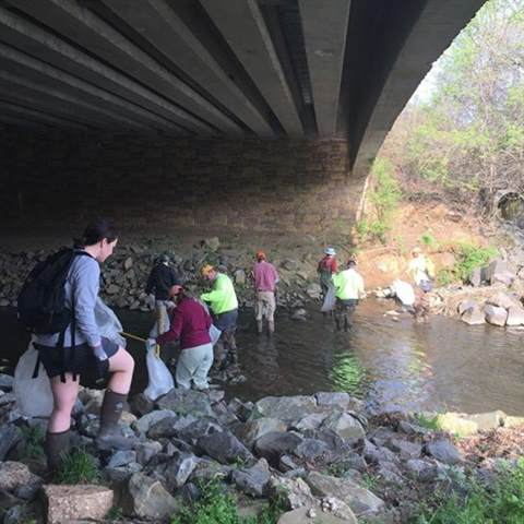 stream clean up under an overpass